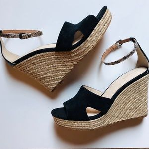 Cole Haan Espadrille Wedges Black 9 1/2